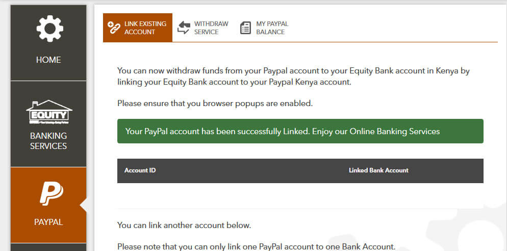 After linking paypal and equity