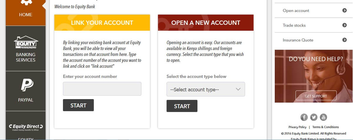 The new equity Self service once you log in