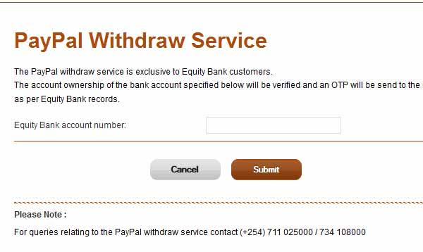 Equity bank PayPal Withdraw service