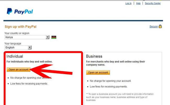 Kenyan Individual account set up
