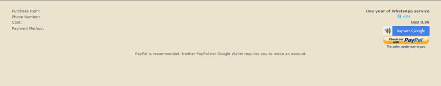 Pay for whatsapp using paypal on your pc