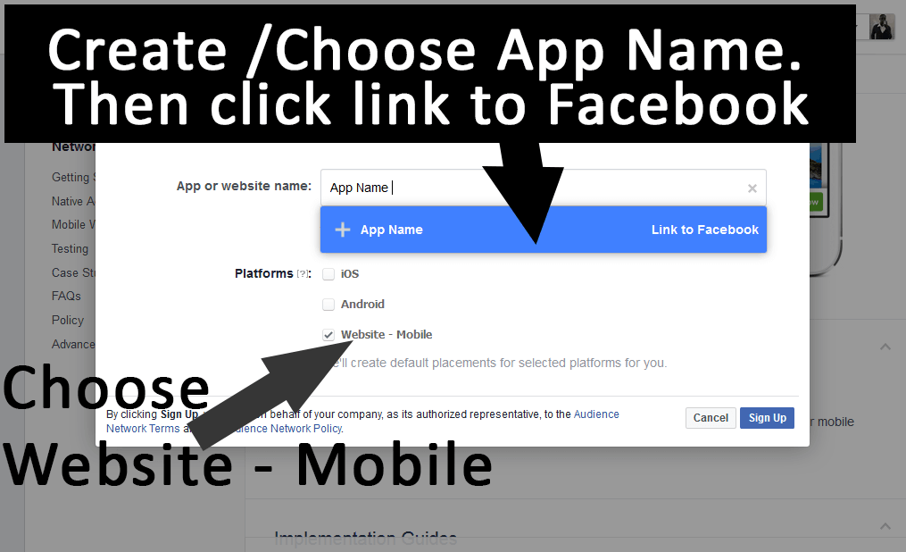 Create a Facebook App for the Audience network