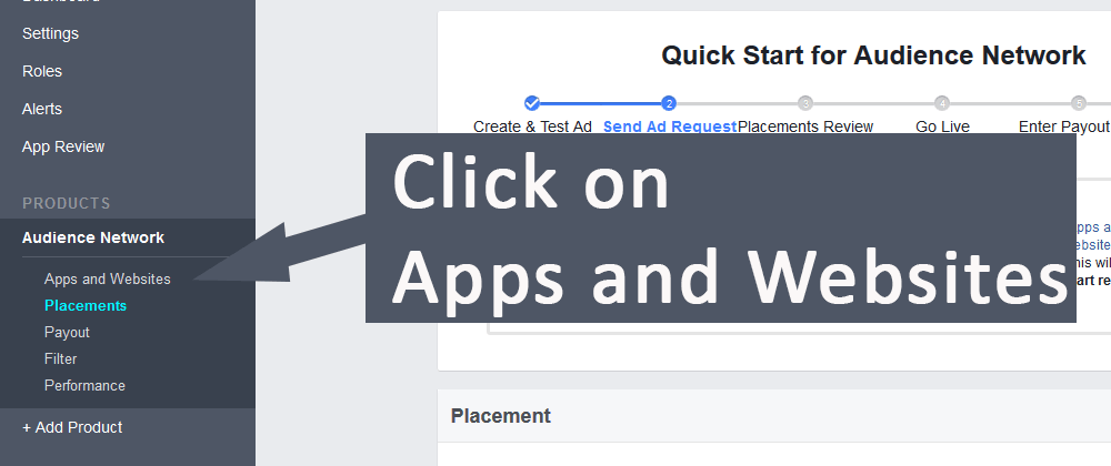 Click Apps and website in Facebook Audience Tab
