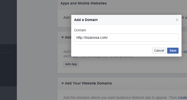 Add website Domain in Facebook App