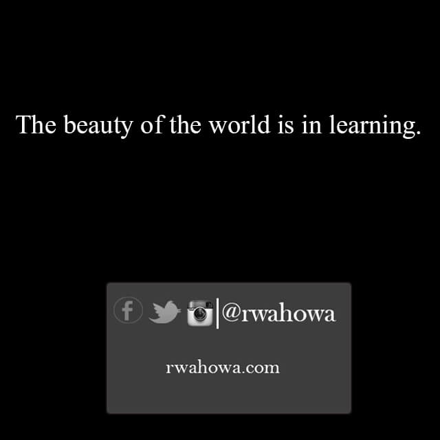 35 The beauty of the world is in learning