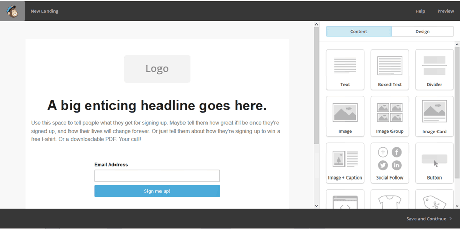 Edit the template of the landing page