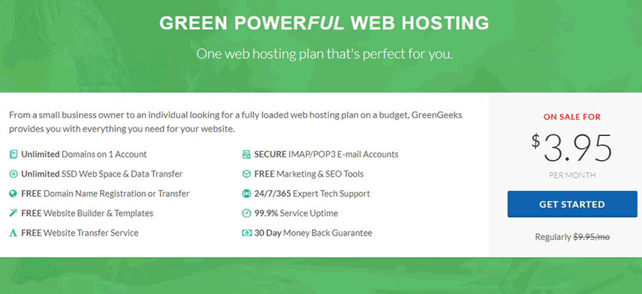 GreenGeeks Plan - Learn More