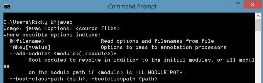 Confirm JDK path by typing javac.