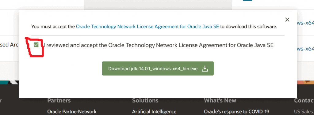 3 Accept terms and conditions JDK oracle