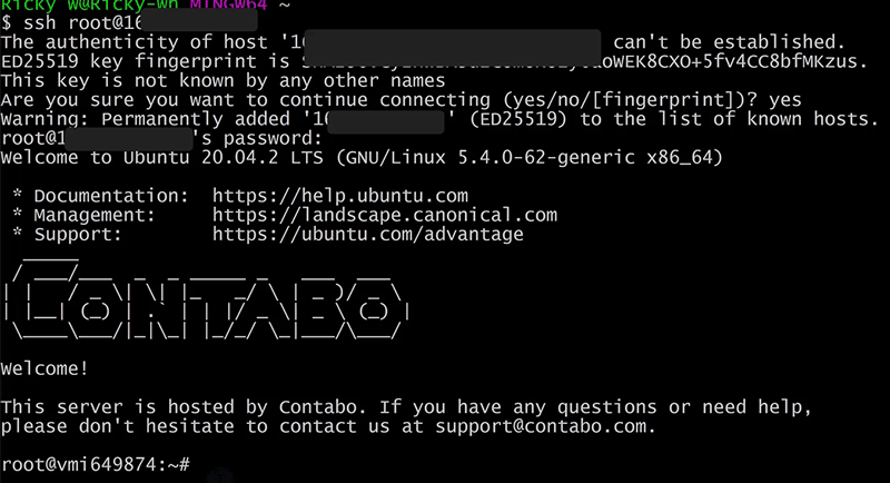Successful Server login via SSH - Connect to your conatbo VPS
